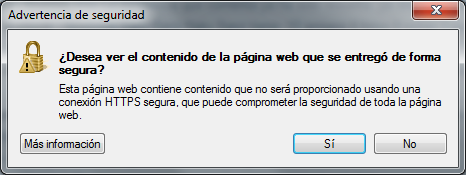 Advertencia de seguridad - Internet Explorer 8