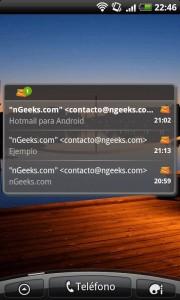 Hotmail para Android - Widget