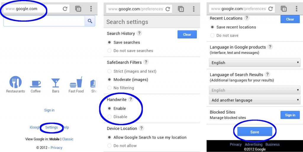 Google Handwrite - Habilitar escritura táctil