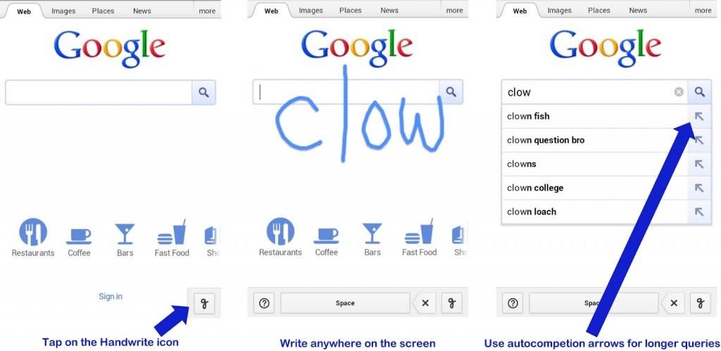 Google Handwrite - Hacer una búsqueda