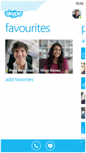 Skype para Windows Phone 8 - Favoritos