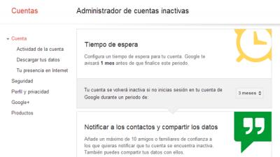 Google - Administrador de cuentas inactivas