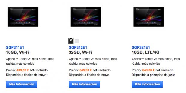Sony Xperia Tablet Z Precios