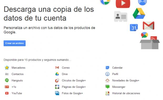 Descargar datos de cuenta Google
