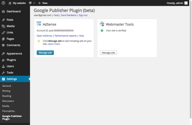 Google Publisher Plugin Settings