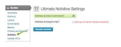 """Con el plugin """"Ultimate Nofollow"""" puede insertarse automáticamente y de manera sencilla este atributo en tu WordPress"""