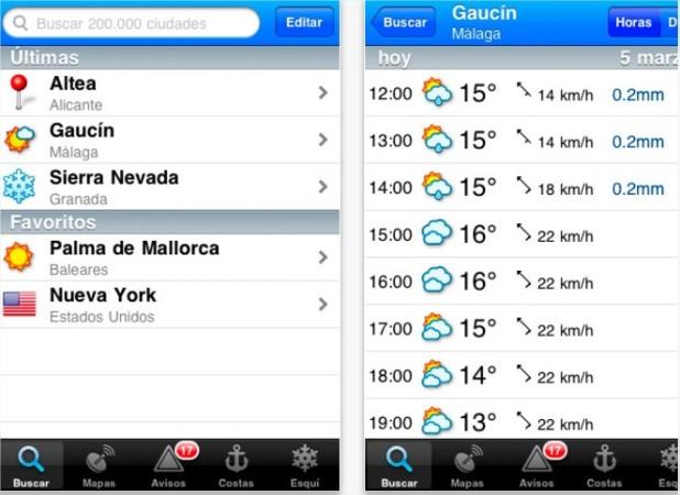 Mejores aplicaciones para consultar el tiempo - Android, iOS y Windows Phone