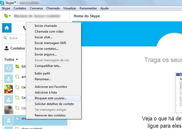 bloquear a un contacto en skype 1