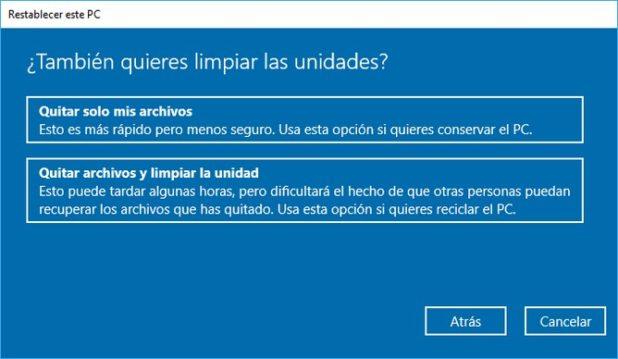 restablecer windows 10 1