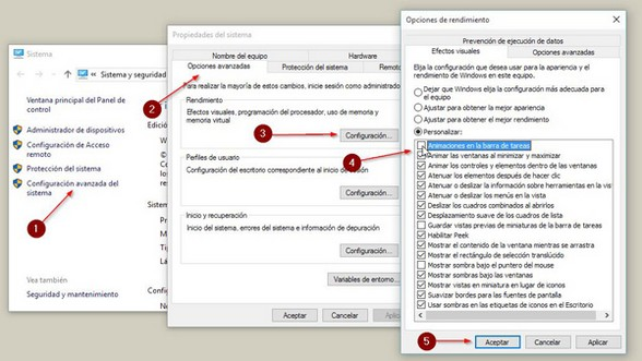 eliminar animaciones en windows 10