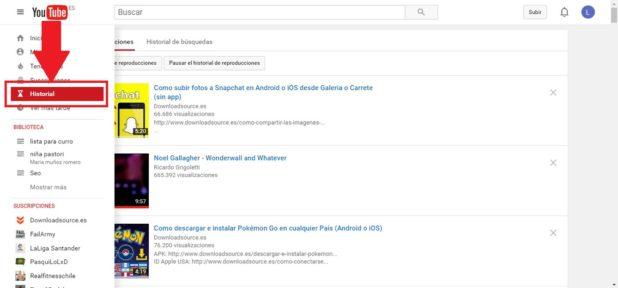borrar el historial de reproducciones de youtube
