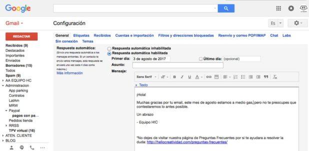 programar respuesta automatica en gmail