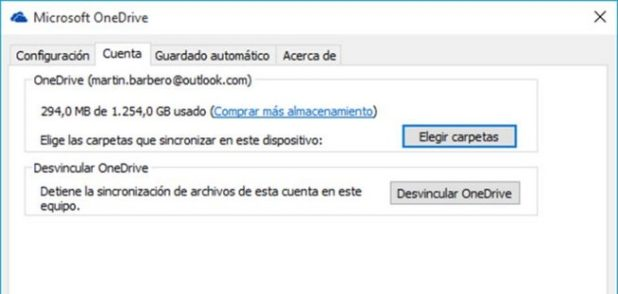 sincronizar carpetas con onedrive en windows 10