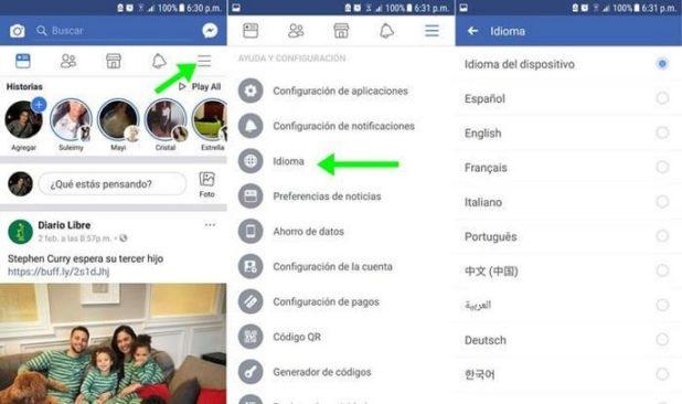 cambiar el idioma de facebook tutorial