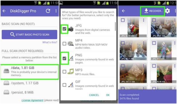 como recuperar archivos borrados en android