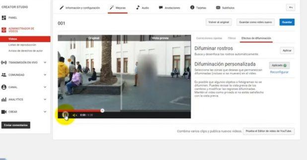 ocultar caras youtube