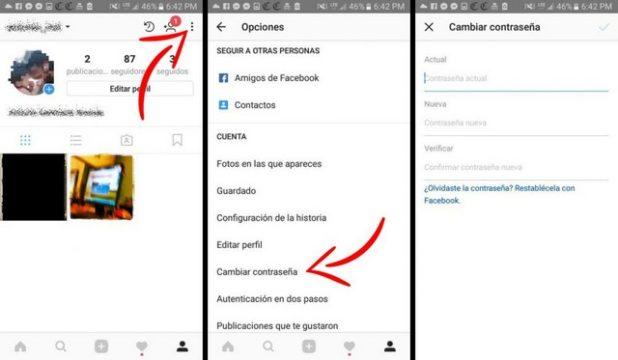 como cambiar contrasena instagram